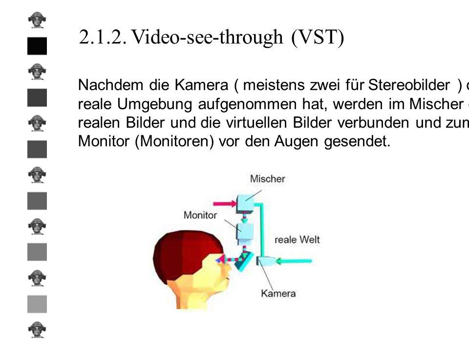 2.1.2. Video-see-through (VST) Nachdem die Kamera ( meistens zwei für Stereobilder ) die reale Umgebung aufgenommen hat, werden im Mischer die realen
