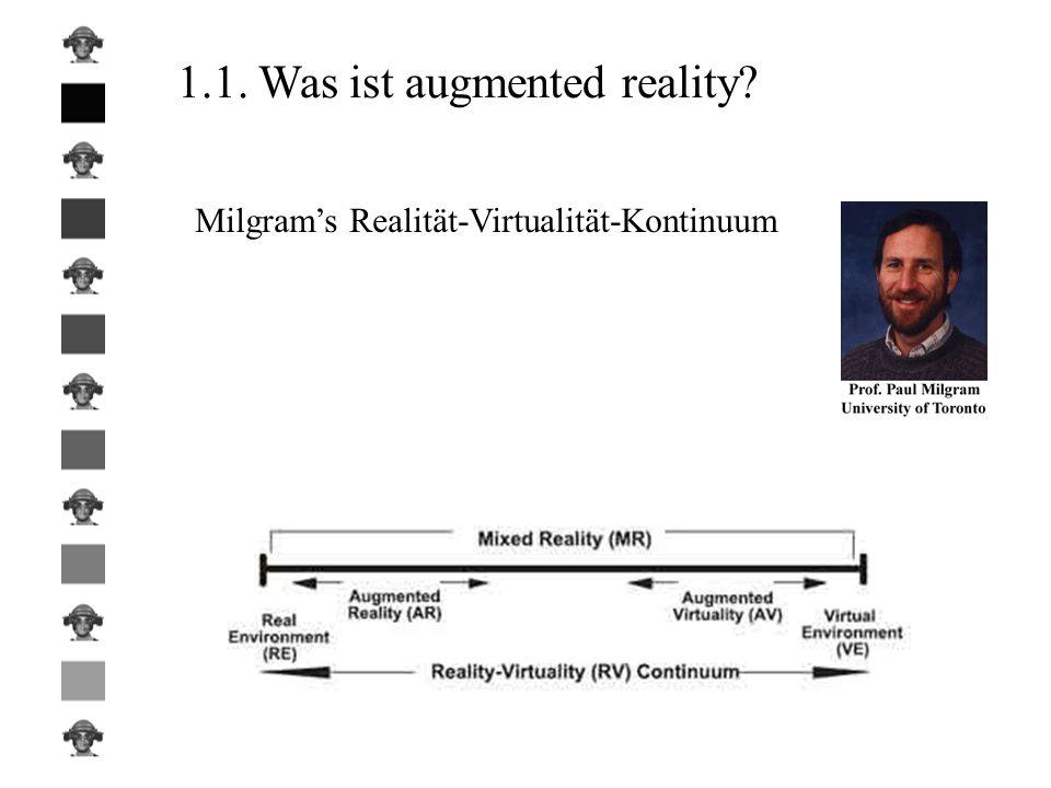 -virtuelle Objekte müssen an dem Platz in der realen Welt erscheinen wo wir sie erwarten -Bewegungsfreiheit des Benutzers in der realen Welt -Benutzer sollte reale und virtuelle Objekte nicht mehr voneinander unterscheiden können (Idealfall) 1.2.