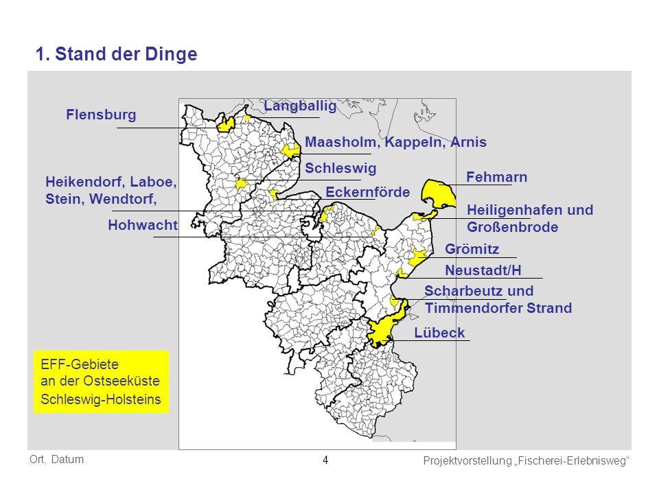 Ort, Datum Projektvorstellung Fischerei-Erlebnisweg 4 Flensburg Maasholm, Kappeln, Arnis Eckernförde Heikendorf, Laboe, Stein, Wendtorf, Hohwacht Lübe