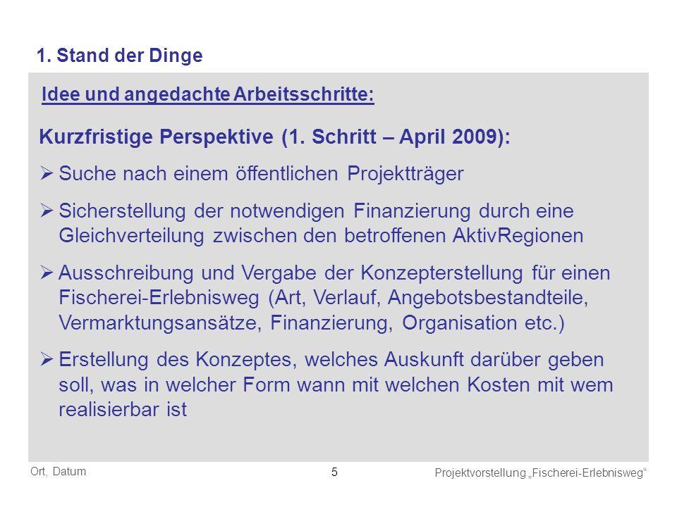Ort, Datum Projektvorstellung Fischerei-Erlebnisweg 5 Kurzfristige Perspektive (1. Schritt – April 2009): Suche nach einem öffentlichen Projektträger