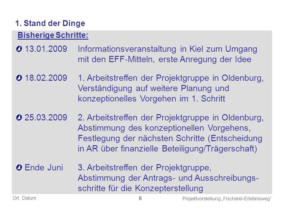 Ort, Datum Projektvorstellung Fischerei-Erlebnisweg 8 13.01.2009Informationsveranstaltung in Kiel zum Umgang mit den EFF-Mitteln, erste Anregung der I