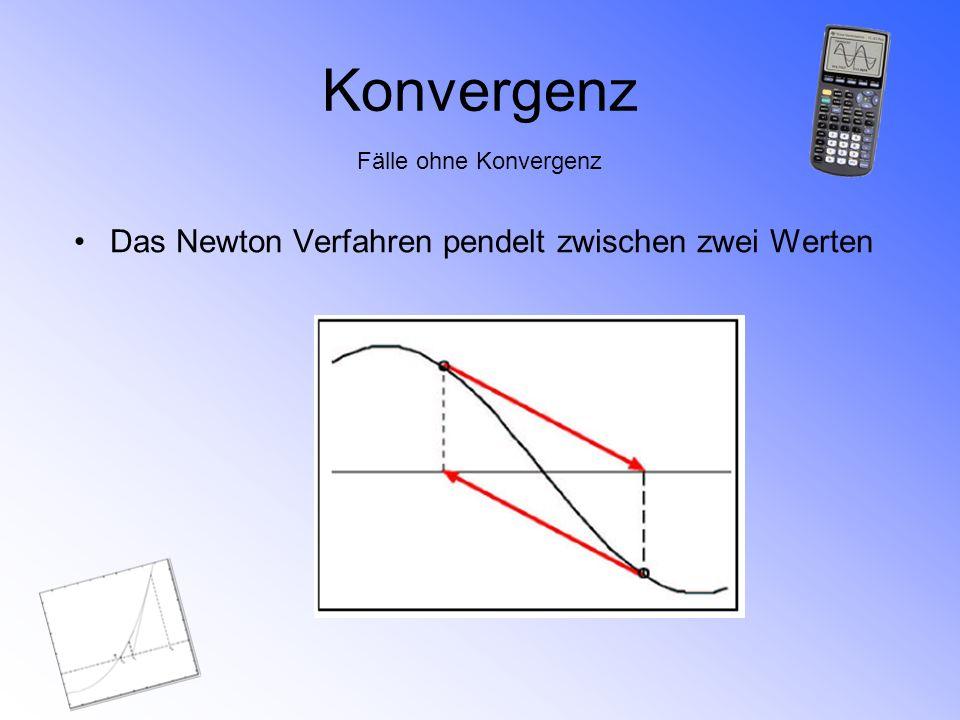 Konvergenz Fälle ohne Konvergenz Das Newton Verfahren pendelt zwischen zwei Werten