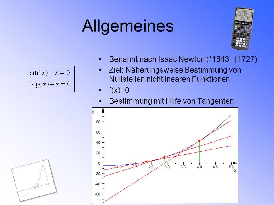Allgemeines Benannt nach Isaac Newton (*1643- 1727) Ziel: Näherungsweise Bestimmung von Nullstellen nichtlinearen Funktionen f(x)=0 Bestimmung mit Hil