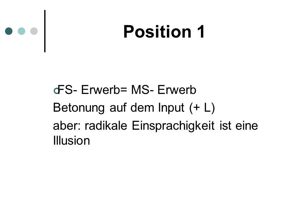 Position 1 FS- Erwerb= MS- Erwerb Betonung auf dem Input (+ L) aber: radikale Einsprachigkeit ist eine Illusion
