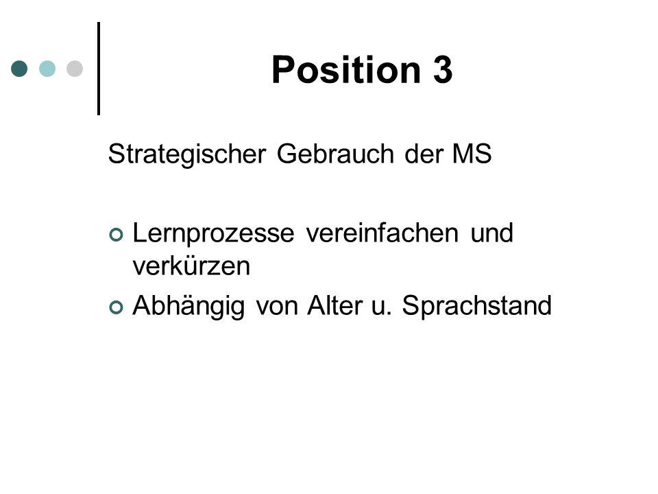 Position 3 Strategischer Gebrauch der MS Lernprozesse vereinfachen und verkürzen Abhängig von Alter u. Sprachstand
