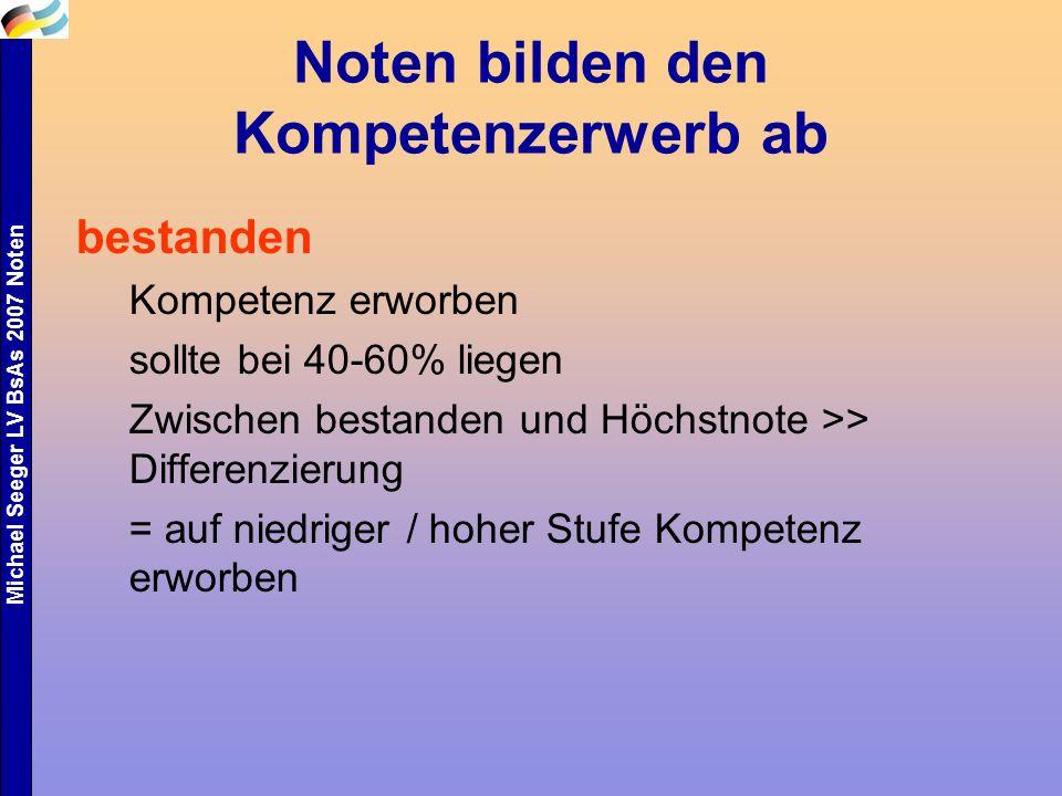 Michael Seeger LV BsAs 2007 Noten Noten bilden den Kompetenzerwerb ab bestanden Kompetenz erworben sollte bei 40-60% liegen Zwischen bestanden und Höc