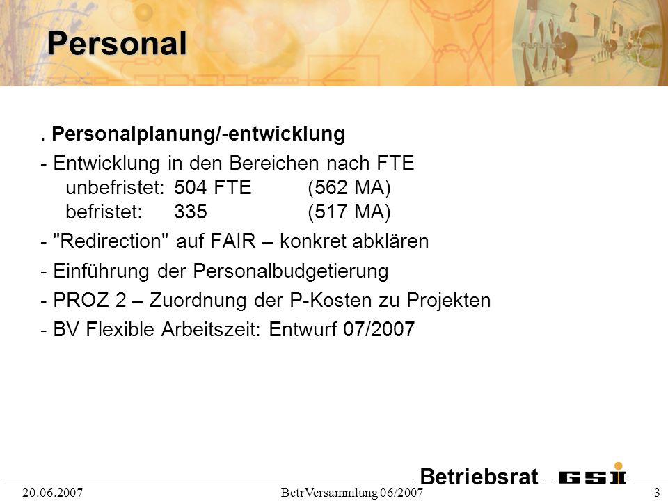Betriebsrat 20.06.2007BetrVersammlung 06/2007 3Personal.