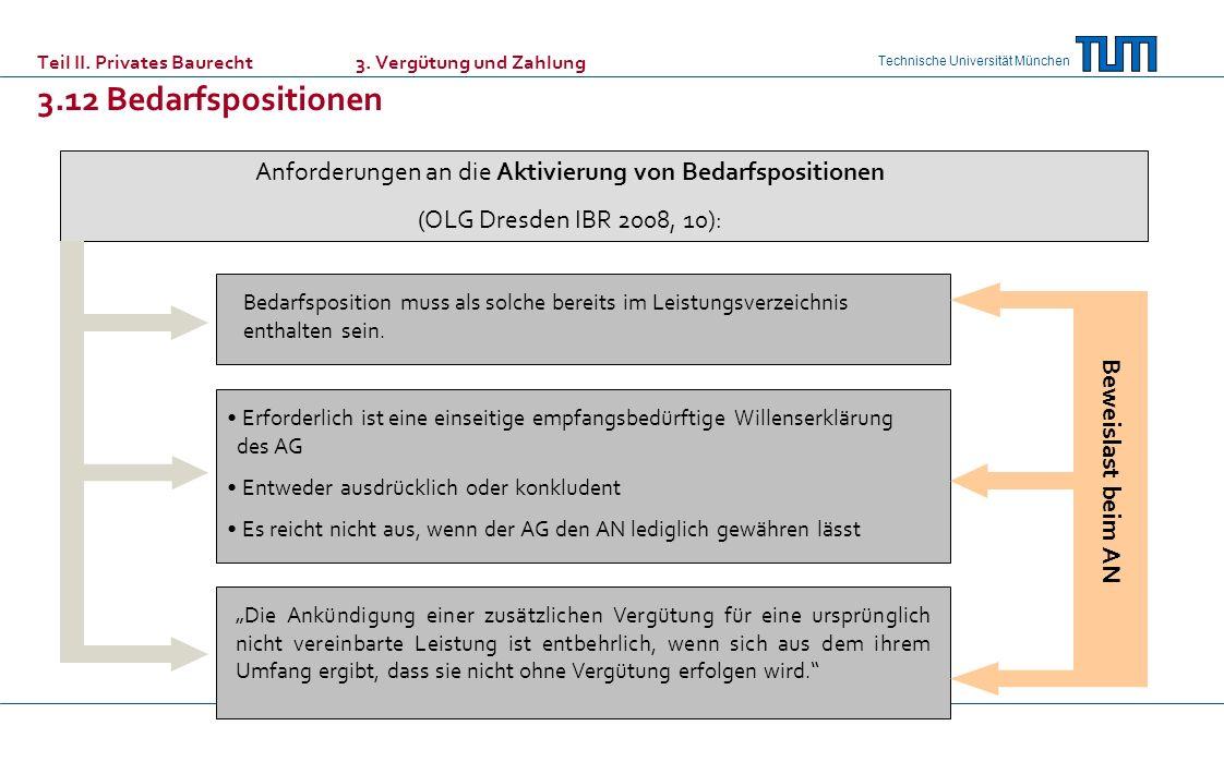 Technische Universität München Teil II. Privates Baurecht 3. Vergütung und Zahlung 3.12 Bedarfspositionen Anforderungen an die Aktivierung von Bedarfs