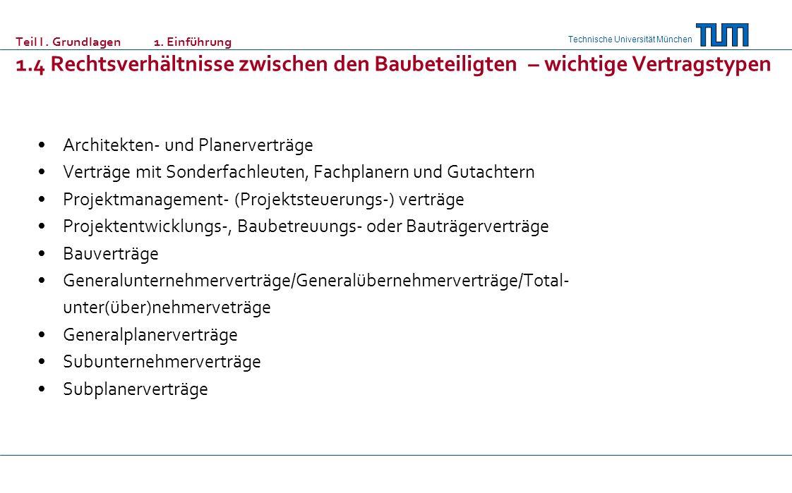 Technische Universität München Teil I. Grundlagen 1. Einführung 1.4 Rechtsverhältnisse zwischen den Baubeteiligten – wichtige Vertragstypen Architekte