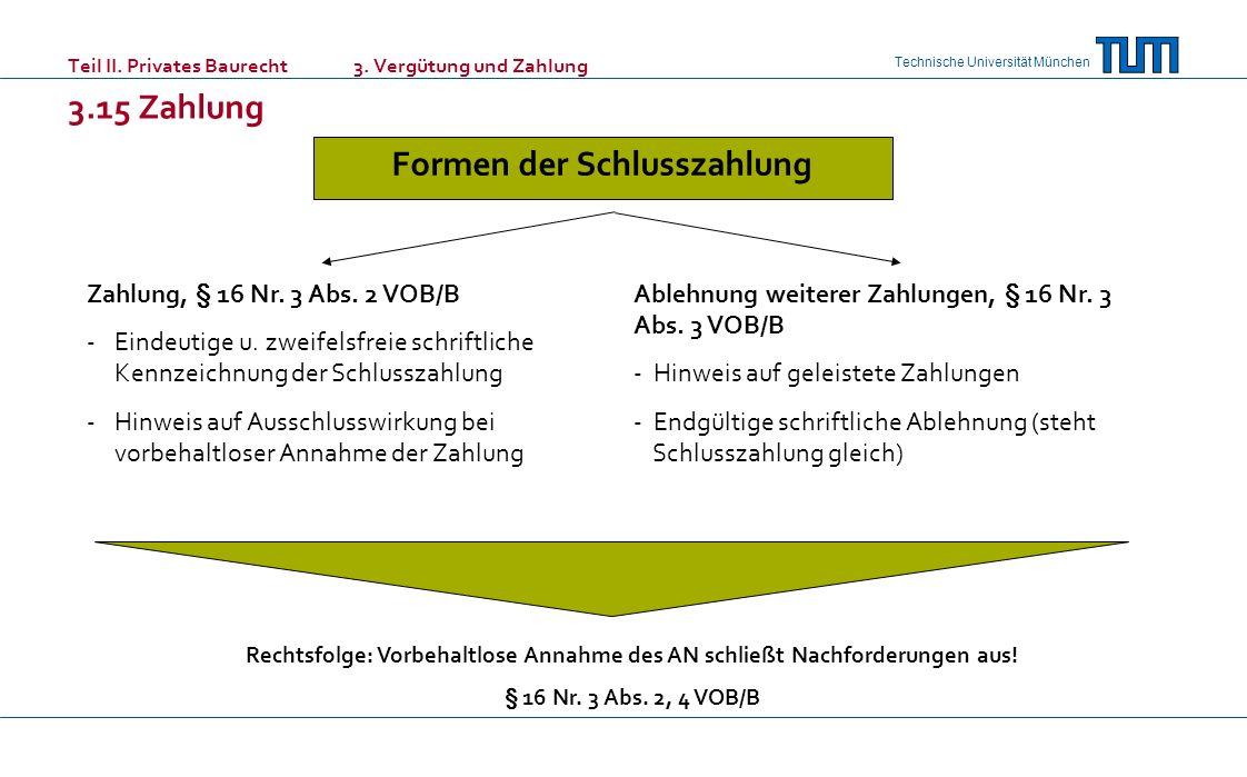 Technische Universität München Teil II. Privates Baurecht 3. Vergütung und Zahlung 3.15 Zahlung Formen der Schlusszahlung Zahlung, § 16 Nr. 3 Abs. 2 V