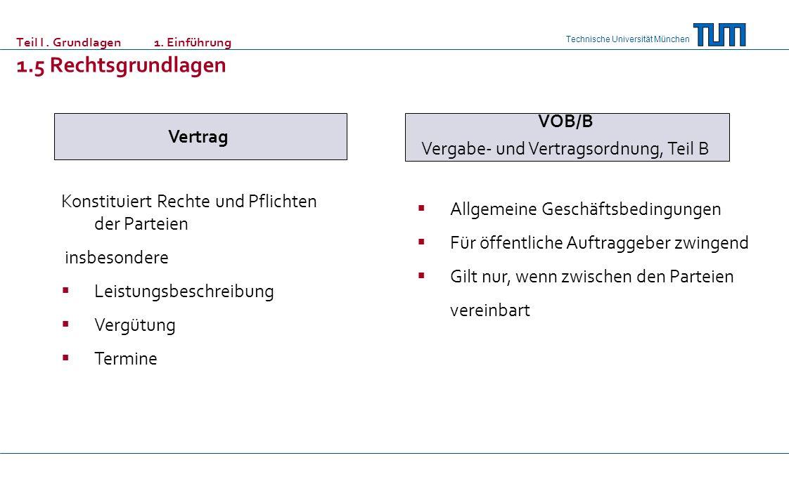 Technische Universität München Teil I. Grundlagen 1. Einführung 1.5 Rechtsgrundlagen Vertrag Konstituiert Rechte und Pflichten der Parteien insbesonde
