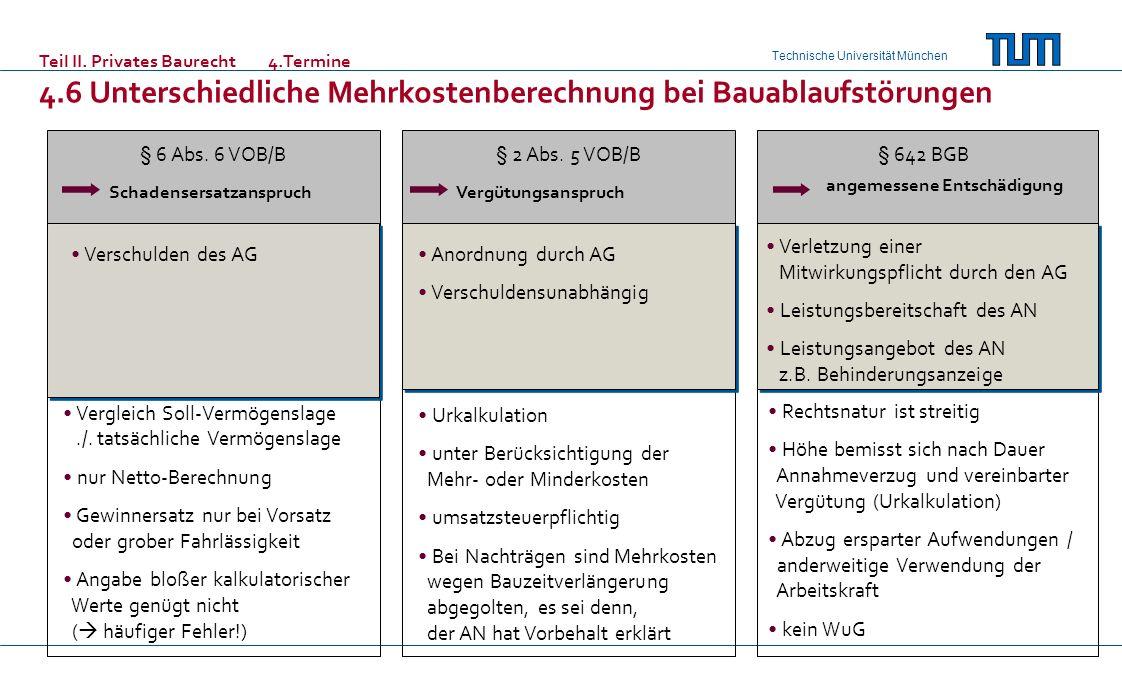 Technische Universität München § 6 Abs. 6 VOB/B Teil II. Privates Baurecht 4.Termine 4.6 Unterschiedliche Mehrkostenberechnung bei Bauablaufstörungen
