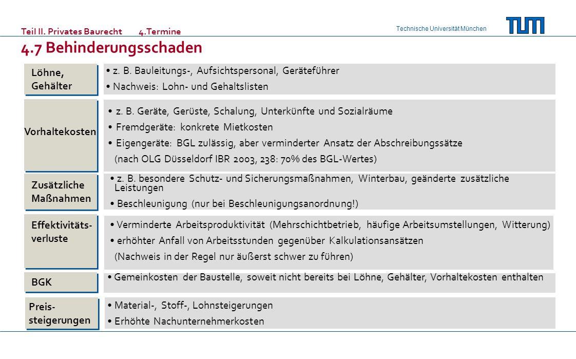 Technische Universität München Löhne, Gehälter Vorhaltekosten Zusätzliche Maßnahmen Effektivitäts- verluste BGK Preis- steigerungen z. B. Bauleitungs-