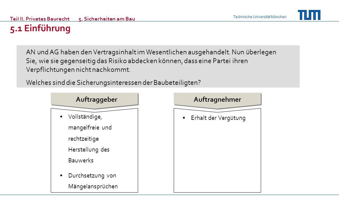 Technische Universität München Teil II. Privates Baurecht 5. Sicherheiten am Bau 5.1 Einführung AN und AG haben den Vertragsinhalt im Wesentlichen aus