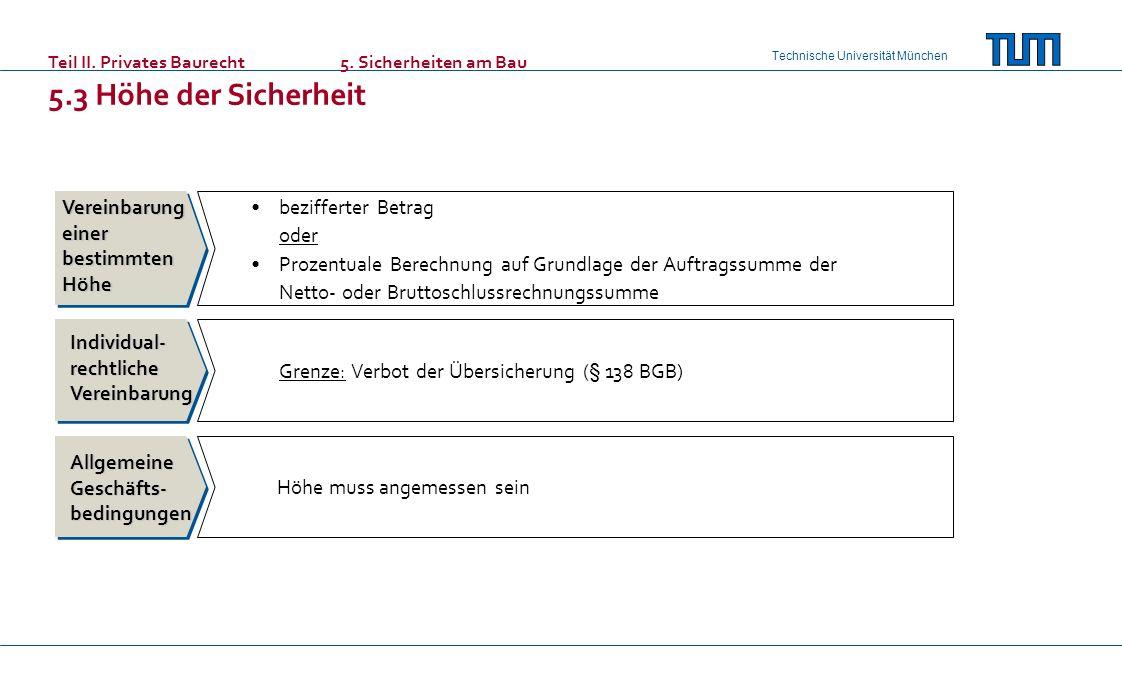 Technische Universität München Teil II. Privates Baurecht 5. Sicherheiten am Bau 5.3 Höhe der Sicherheit Vereinbarung einer bestimmten Höhe bezifferte