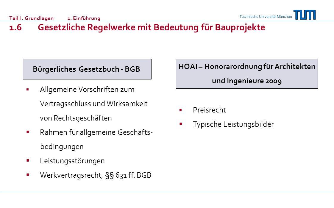 Technische Universität München Teil I. Grundlagen 1. Einführung 1.6 Gesetzliche Regelwerke mit Bedeutung für Bauprojekte Bürgerliches Gesetzbuch - BGB