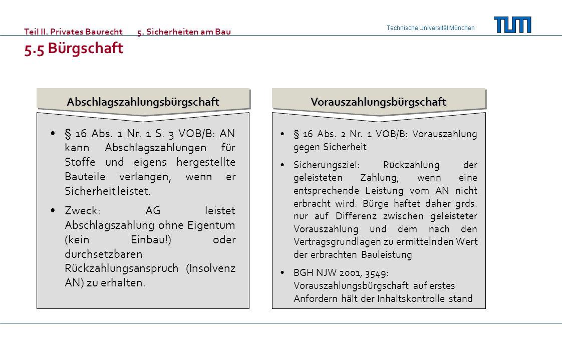Technische Universität München AbschlagszahlungsbürgschaftVorauszahlungsbürgschaft § 16 Abs. 1 Nr. 1 S. 3 VOB/B: AN kann Abschlagszahlungen für Stoffe