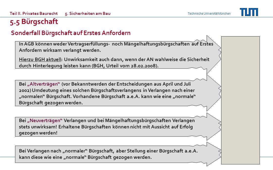 Technische Universität München In AGB können weder Vertragserfüllungs- noch Mängelhaftungsbürgschaften auf Erstes Anfordern wirksam verlangt werden. H
