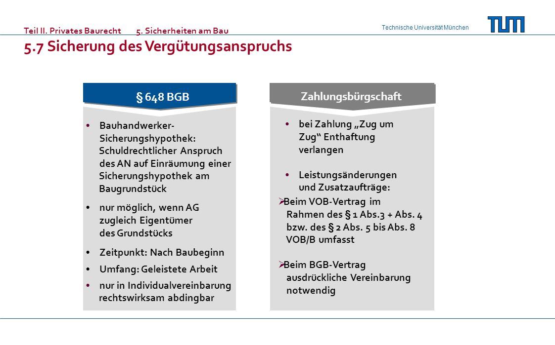 Technische Universität München § 648 BGB Bauhandwerker- Sicherungshypothek: Schuldrechtlicher Anspruch des AN auf Einräumung einer Sicherungshypothek