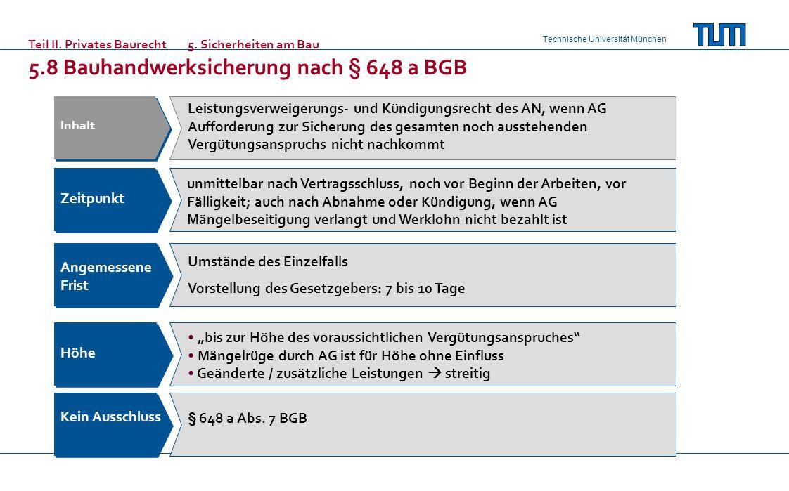 Technische Universität München Teil II. Privates Baurecht5. Sicherheiten am Bau 5.8 Bauhandwerksicherung nach § 648 a BGB Inhalt Zeitpunkt Angemessene