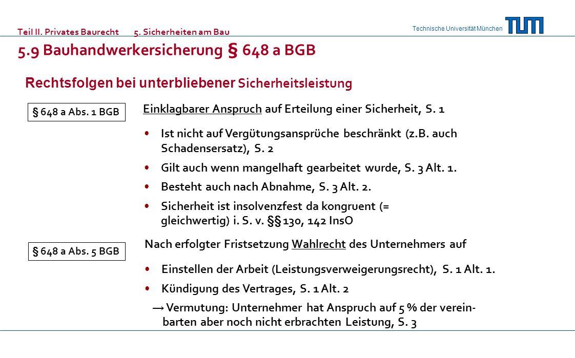 Technische Universität München Teil II. Privates Baurecht5. Sicherheiten am Bau 5.9 Bauhandwerkersicherung § 648 a BGB Rechtsfolgen bei unterbliebener