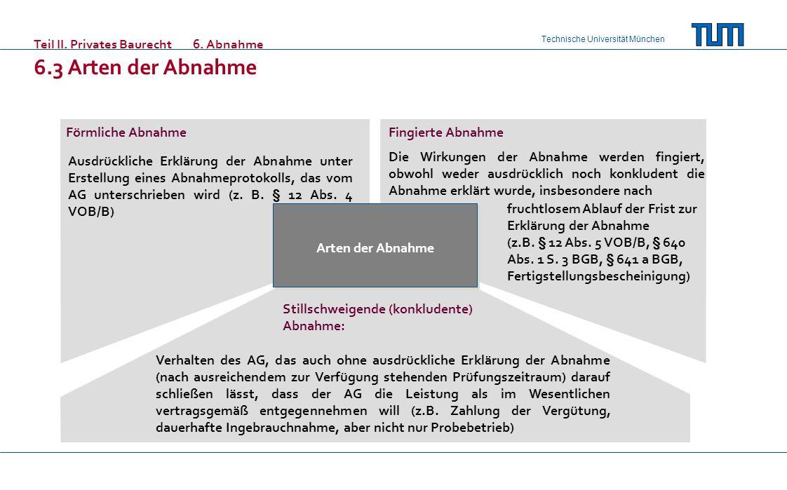 Technische Universität München Teil II. Privates Baurecht6. Abnahme 6.3 Arten der Abnahme Arten der Abnahme Förmliche Abnahme Stillschweigende (konklu