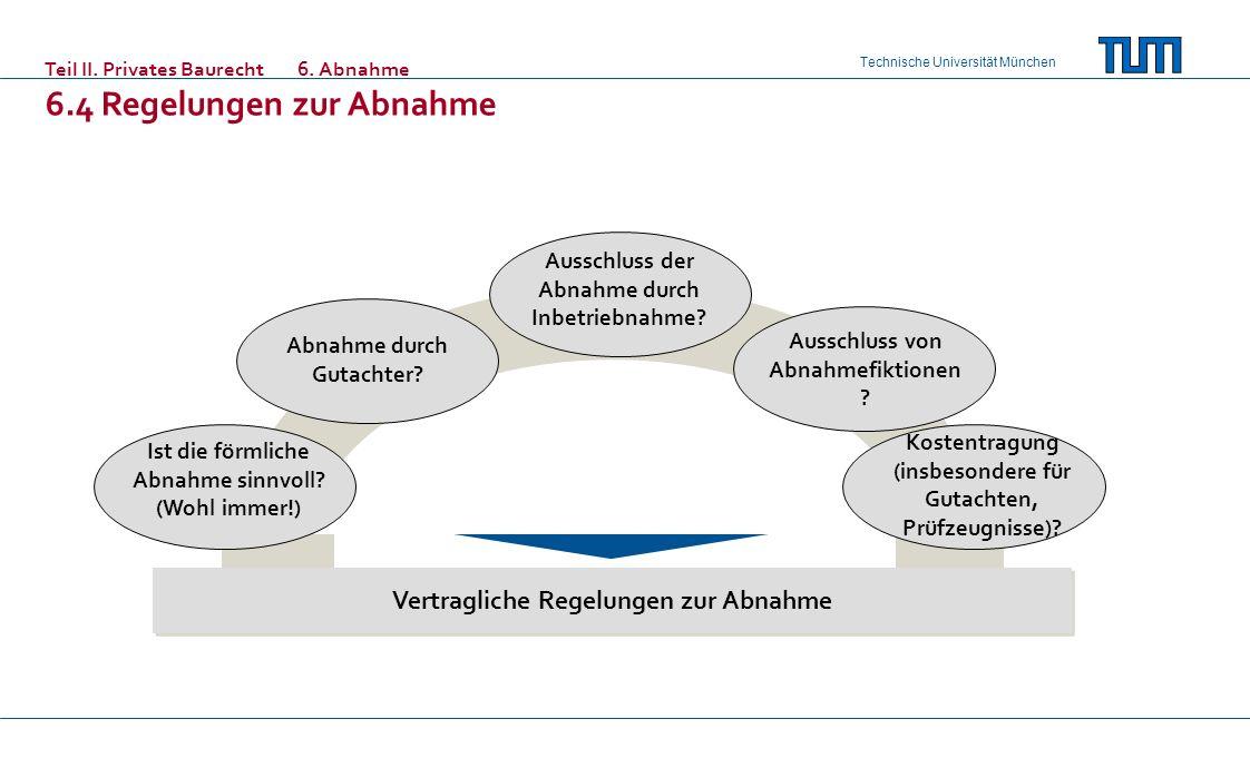Technische Universität München Teil II. Privates Baurecht6. Abnahme 6.4 Regelungen zur Abnahme Ist die förmliche Abnahme sinnvoll? (Wohl immer!) Vertr
