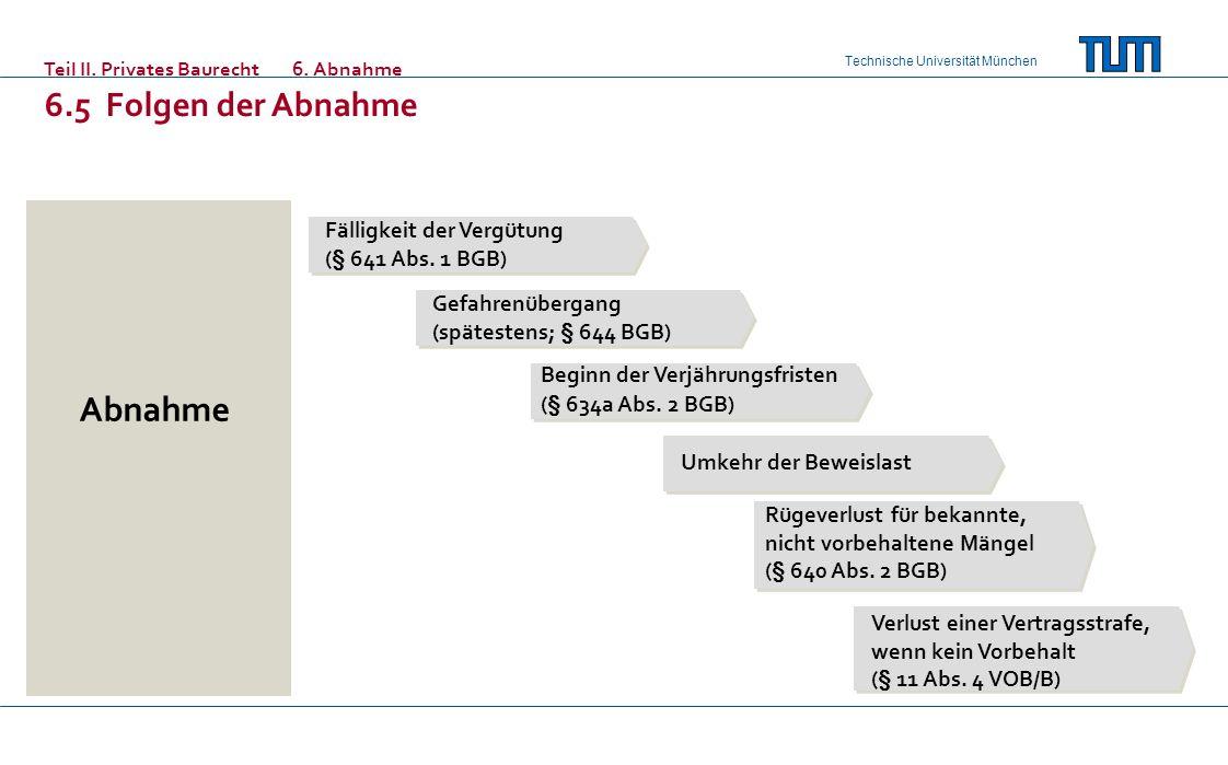 Technische Universität München Teil II. Privates Baurecht6. Abnahme 6.5 Folgen der Abnahme Fälligkeit der Vergütung (§ 641 Abs. 1 BGB) Gefahrenübergan
