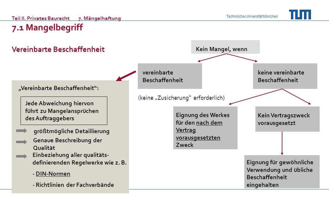 Technische Universität München Teil II. Privates Baurecht7. Mängelhaftung 7.1 Mangelbegriff Vereinbarte Beschaffenheit Kein Mangel, wenn vereinbarte B