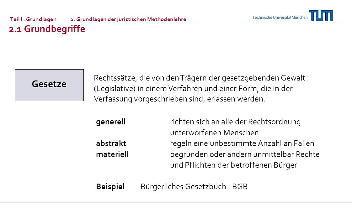 Technische Universität München Teil I. Grundlagen 2. Grundlagen der juristischen Methodenlehre 2.1 Grundbegriffe Gesetze Rechtssätze, die von den Träg