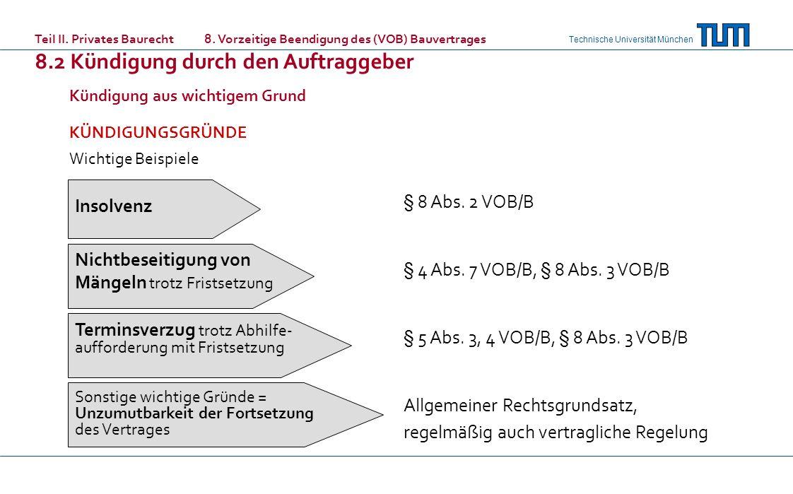 Technische Universität München Kündigung aus wichtigem Grund KÜNDIGUNGSGRÜNDE Wichtige Beispiele Teil II. Privates Baurecht 8. Vorzeitige Beendigung d