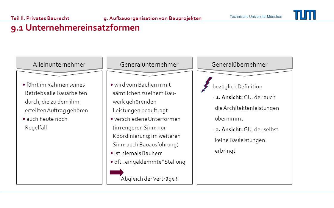 Technische Universität München AlleinunternehmerGeneralunternehmerGeneralübernehmer führt im Rahmen seines Betriebs alle Bauarbeiten durch, die zu dem
