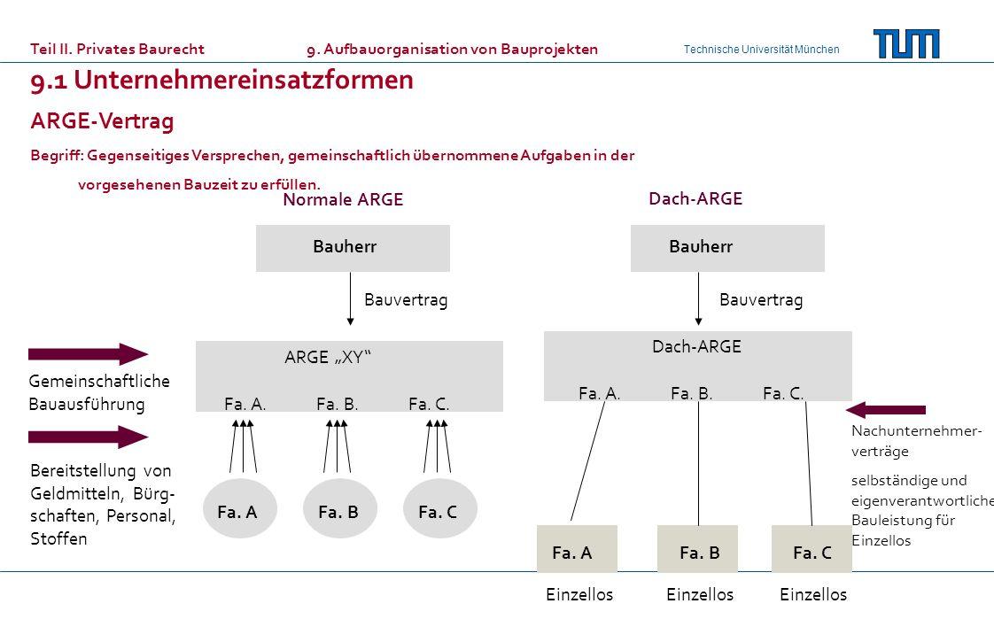Technische Universität München ARGE-Vertrag Begriff: Gegenseitiges Versprechen, gemeinschaftlich übernommene Aufgaben in der vorgesehenen Bauzeit zu e