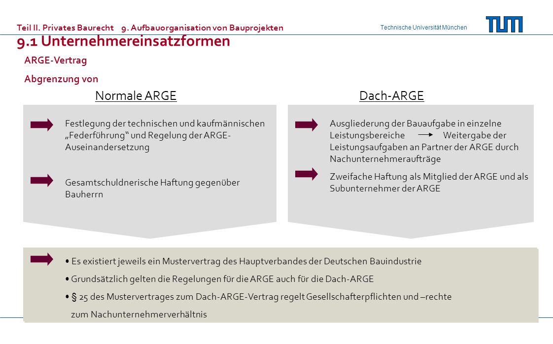 Technische Universität München Festlegung der technischen und kaufmännischen Federführung und Regelung der ARGE- Auseinandersetzung Gesamtschuldnerische Haftung gegenüber Bauherrn Ausgliederung der Bauaufgabe in einzelne Leistungsbereiche Weitergabe der Leistungsaufgaben an Partner der ARGE durch Nachunternehmeraufträge Zweifache Haftung als Mitglied der ARGE und als Subunternehmer der ARGE Es existiert jeweils ein Mustervertrag des Hauptverbandes der Deutschen Bauindustrie Grundsätzlich gelten die Regelungen für die ARGE auch für die Dach-ARGE § 25 des Mustervertrages zum Dach-ARGE-Vertrag regelt Gesellschafterpflichten und –rechte zum Nachunternehmerverhältnis ARGE-Vertrag Abgrenzung von Normale ARGEDach-ARGE Teil II.
