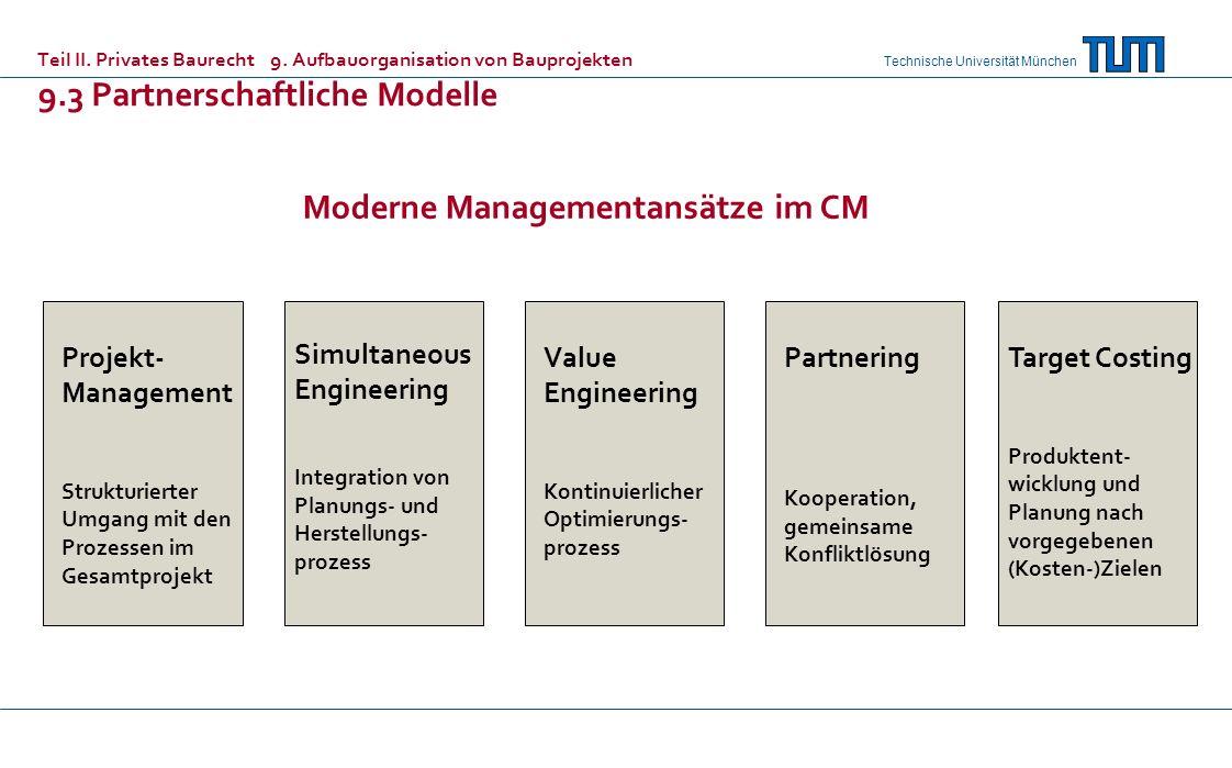 Technische Universität München Teil II. Privates Baurecht 9. Aufbauorganisation von Bauprojekten 9.3 Partnerschaftliche Modelle Projekt- Management St