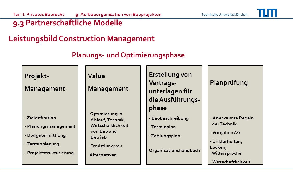 Technische Universität München Projekt- Management - Zieldefinition - Planungsmanagement - Budgetermittlung - Terminplanung - Projektstrukturierung Va