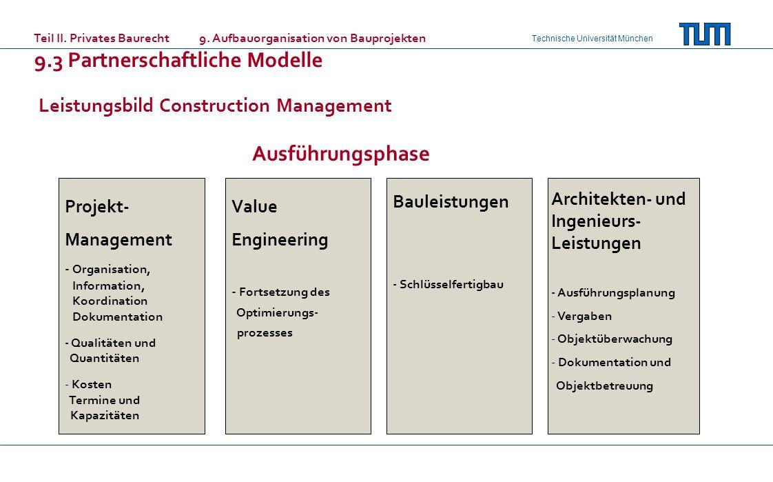 Technische Universität München Leistungsbild Construction Management Teil II. Privates Baurecht 9. Aufbauorganisation von Bauprojekten 9.3 Partnerscha