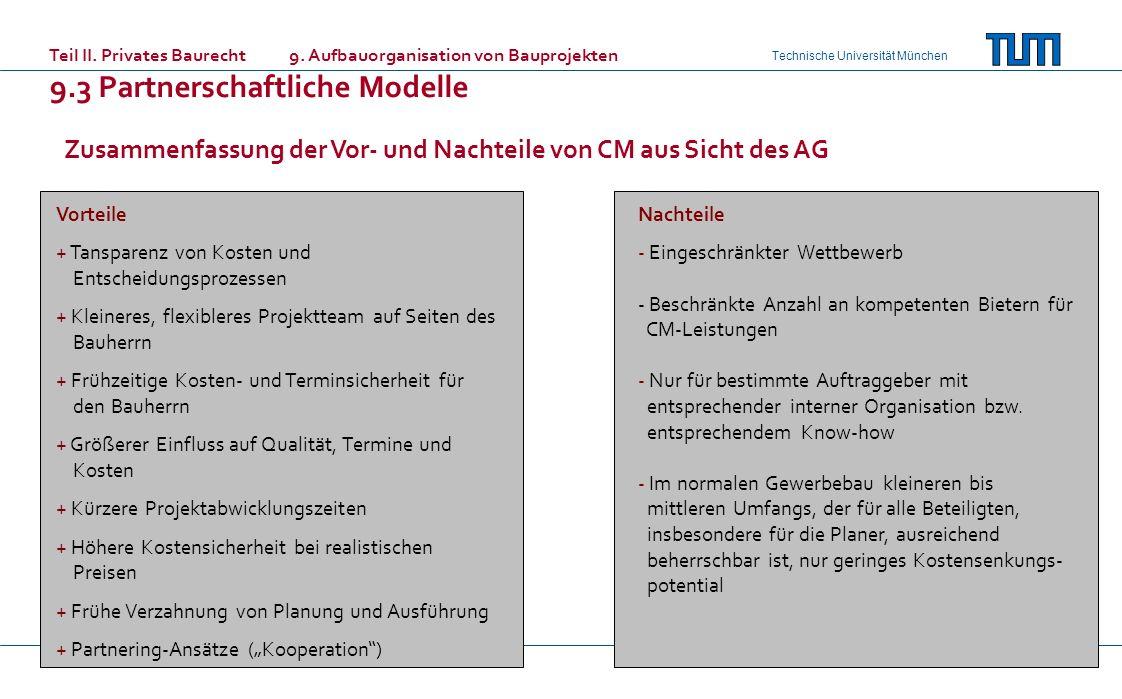 Technische Universität München Zusammenfassung der Vor- und Nachteile von CM aus Sicht des AG Vorteile + Tansparenz von Kosten und Entscheidungsprozes