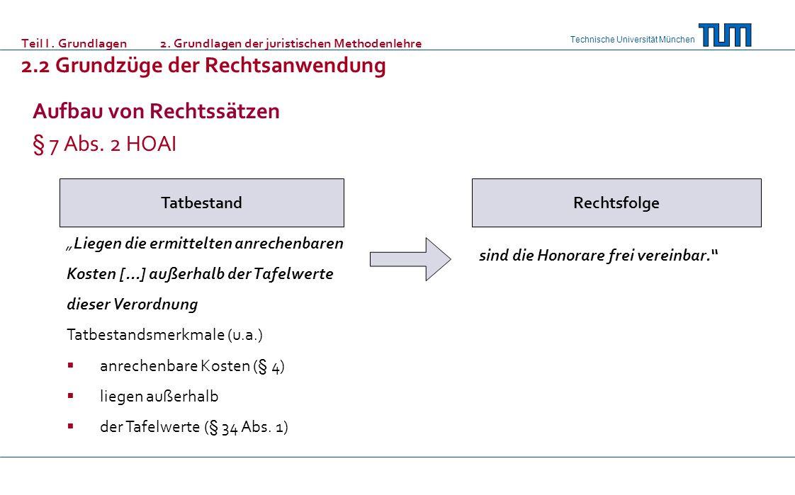Technische Universität München Teil I. Grundlagen 2. Grundlagen der juristischen Methodenlehre 2.2 Grundzüge der Rechtsanwendung Aufbau von Rechtssätz
