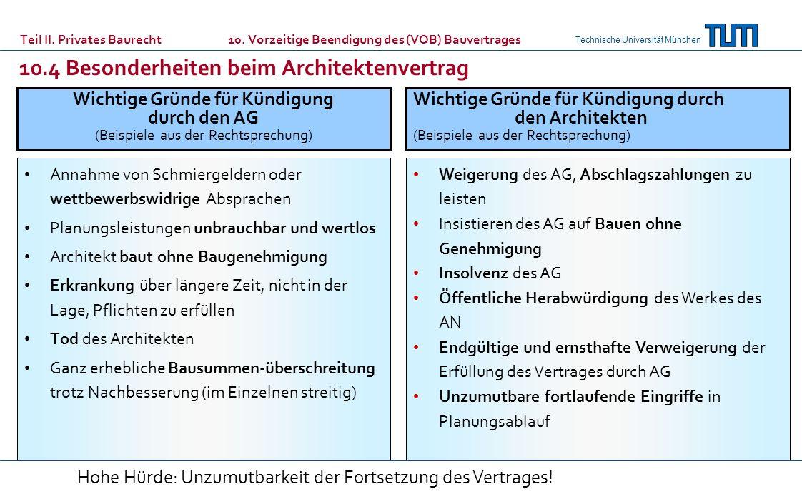 Technische Universität München Teil II. Privates Baurecht 10. Vorzeitige Beendigung des (VOB) Bauvertrages 10.4 Besonderheiten beim Architektenvertrag