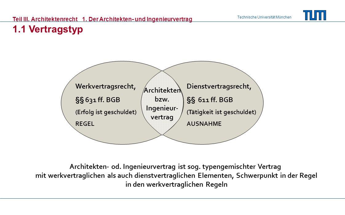 Technische Universität München Teil III. Architektenrecht1. Der Architekten- und Ingenieurvertrag 1.1 Vertragstyp Werkvertragsrecht, §§ 631 ff. BGB (E