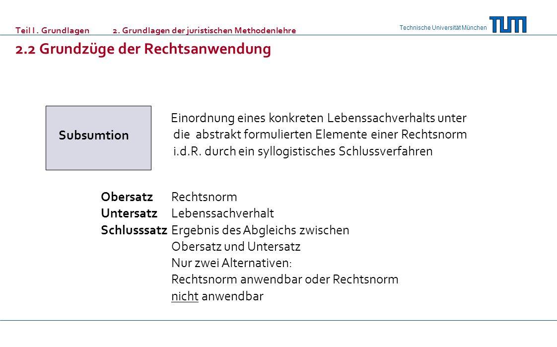 Technische Universität München Teil I. Grundlagen 2. Grundlagen der juristischen Methodenlehre 2.2 Grundzüge der Rechtsanwendung Subsumtion Einordnung