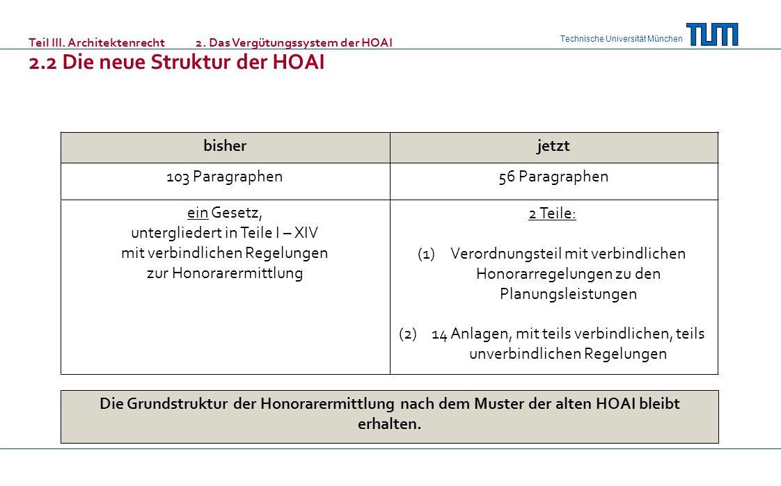 Technische Universität München Die Grundstruktur der Honorarermittlung nach dem Muster der alten HOAI bleibt erhalten. 56 Paragraphen103 Paragraphen 2
