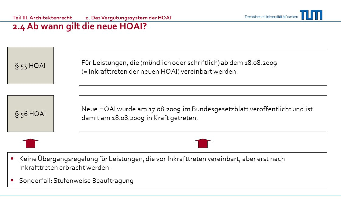 Technische Universität München § 55 HOAI § 56 HOAI Für Leistungen, die (mündlich oder schriftlich) ab dem 18.08.2009 (= Inkrafttreten der neuen HOAI)