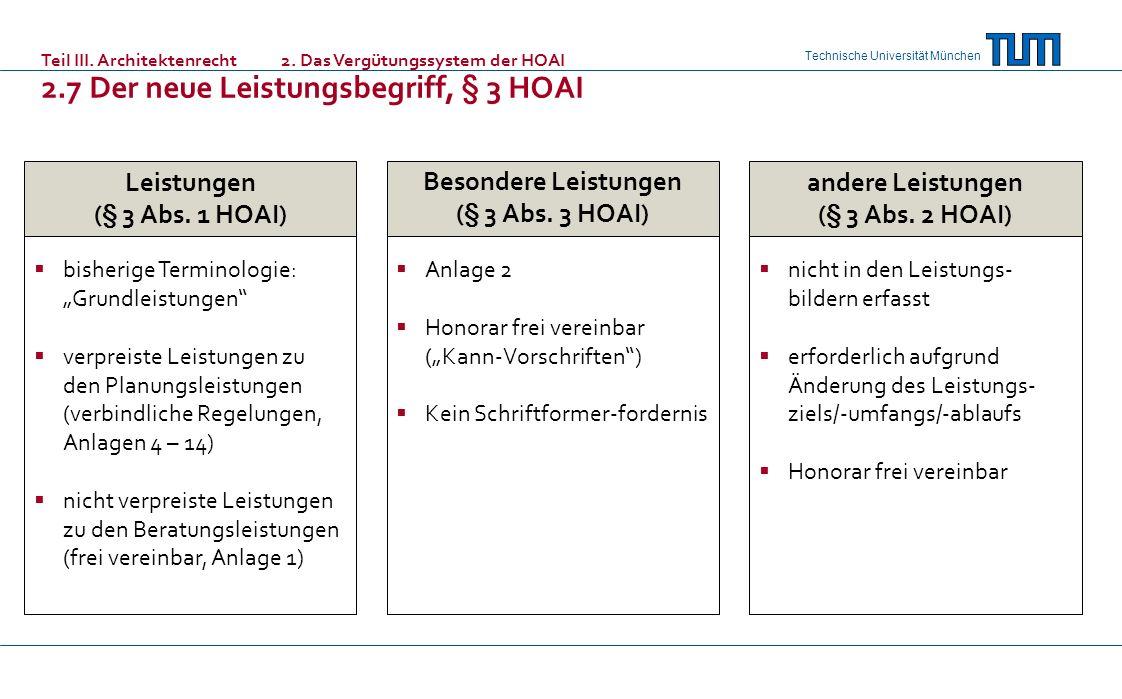 Technische Universität München Leistungen (§ 3 Abs. 1 HOAI) bisherige Terminologie: Grundleistungen verpreiste Leistungen zu den Planungsleistungen (v