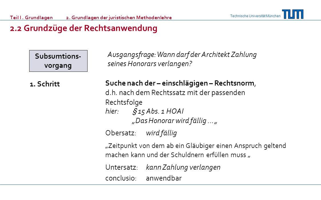 Technische Universität München Teil I. Grundlagen 2. Grundlagen der juristischen Methodenlehre 2.2 Grundzüge der Rechtsanwendung Subsumtions- vorgang