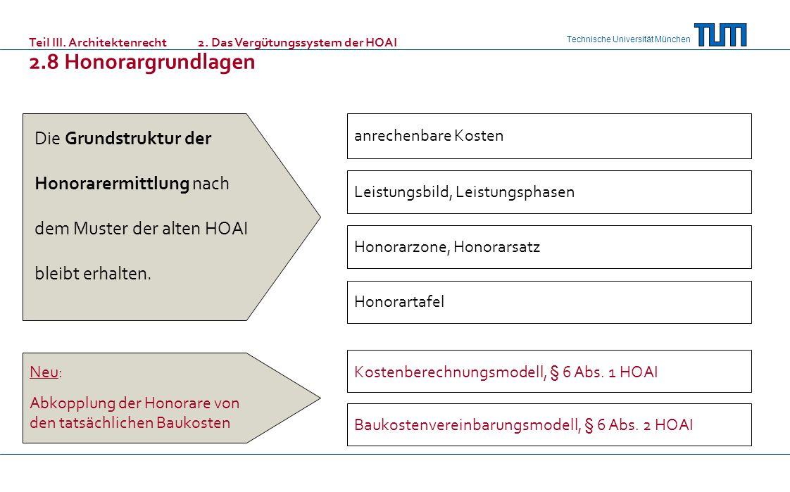 Technische Universität München anrechenbare Kosten Honorartafel Leistungsbild, Leistungsphasen Honorarzone, Honorarsatz Kostenberechnungsmodell, § 6 A