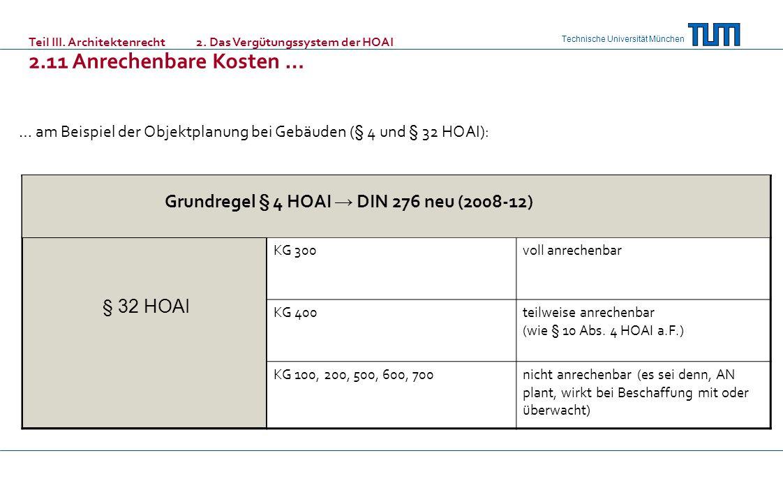 Technische Universität München … am Beispiel der Objektplanung bei Gebäuden (§ 4 und § 32 HOAI): KG 300voll anrechenbar KG 400teilweise anrechenbar (wie § 10 Abs.
