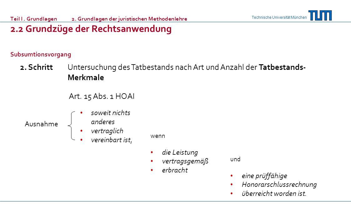Technische Universität München Teil I. Grundlagen 2. Grundlagen der juristischen Methodenlehre 2.2 Grundzüge der Rechtsanwendung Subsumtionsvorgang 2.