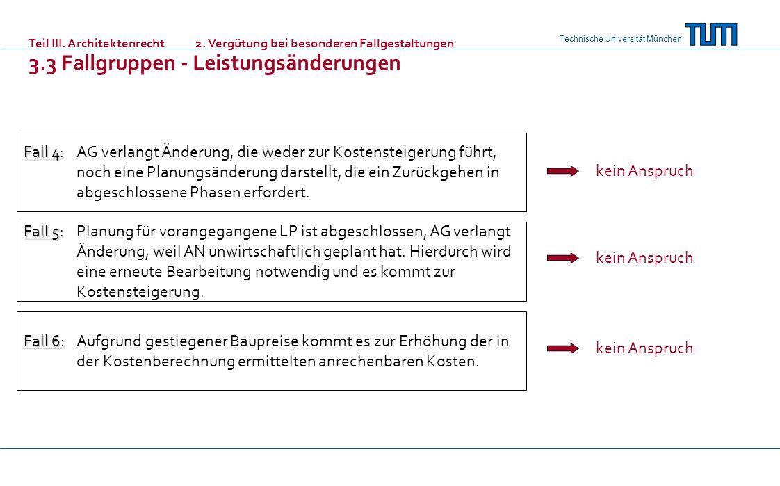 Technische Universität München Fall 4: Fall 4:AG verlangt Änderung, die weder zur Kostensteigerung führt, noch eine Planungsänderung darstellt, die ein Zurückgehen in abgeschlossene Phasen erfordert.